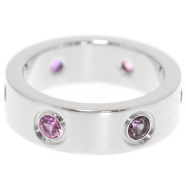 Cartier Love 18K White Gold with Sapphire, Spinel, Aquamarine & Amethyst Ring Size 4.5