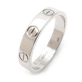 Cartier Mini Love 18K White Gold Ring Size 5