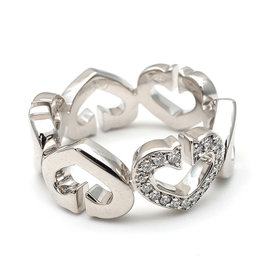 Cartier C Heart 18K White Gold with Diamond Ring Size 5