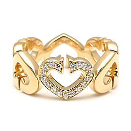 Cartier C Heart 18K Yellow Gold with Diamond Ring Size 5