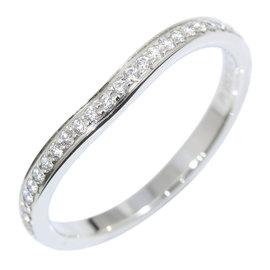 Cartier 950 Platinum Half Diamond Ballerine Curved Ring Size 5.25