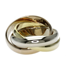 Cartier 18K Yellow, White & Rose Gold Trinity Ring Size 5.25
