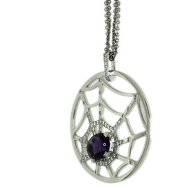 Chaumet 18K White Gold with Amethyst & Diamond Necklace