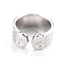 Cartier 18K White Gold C2 Ring Size 4.75