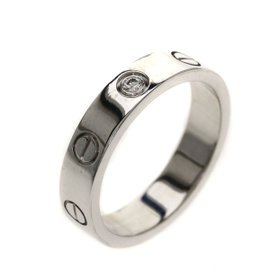 Cartier Mini Love 18K White Gold with 1P Diamond Ring Size 4.75