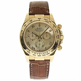Rolex Daytona 116518 18K Yellow Gold / Leather with Yellow Mother Of Pearl Dial 40mm Mens Watch