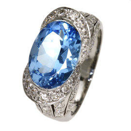 Platinum with Blue Topaz and 1.17ct. Diamond Ring Size 6