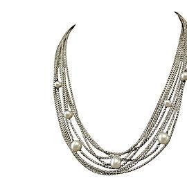 David Yurman Sterling Silver Freshwater Pearl Six Strand Necklace