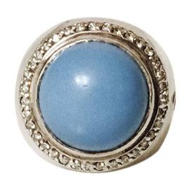 David Yurman Sterling Silver Turquoise & Diamond Ring Size 6