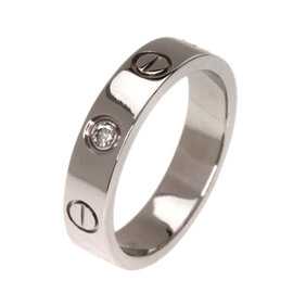 Cartier 18K White Gold Diamond Mini Love Ring Size 3.75