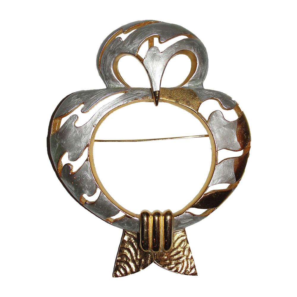 """Image of """"Pierre Cardin Silver Enamel & 18K Gold Plated Owl Pin Brooch"""""""