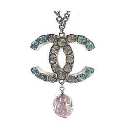 Chanel Silver-Tone Metal & Crystal CC Pendant Necklace