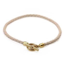 Slane & Slane 18K Yellow & White Gold and Leather Diamond Necklace