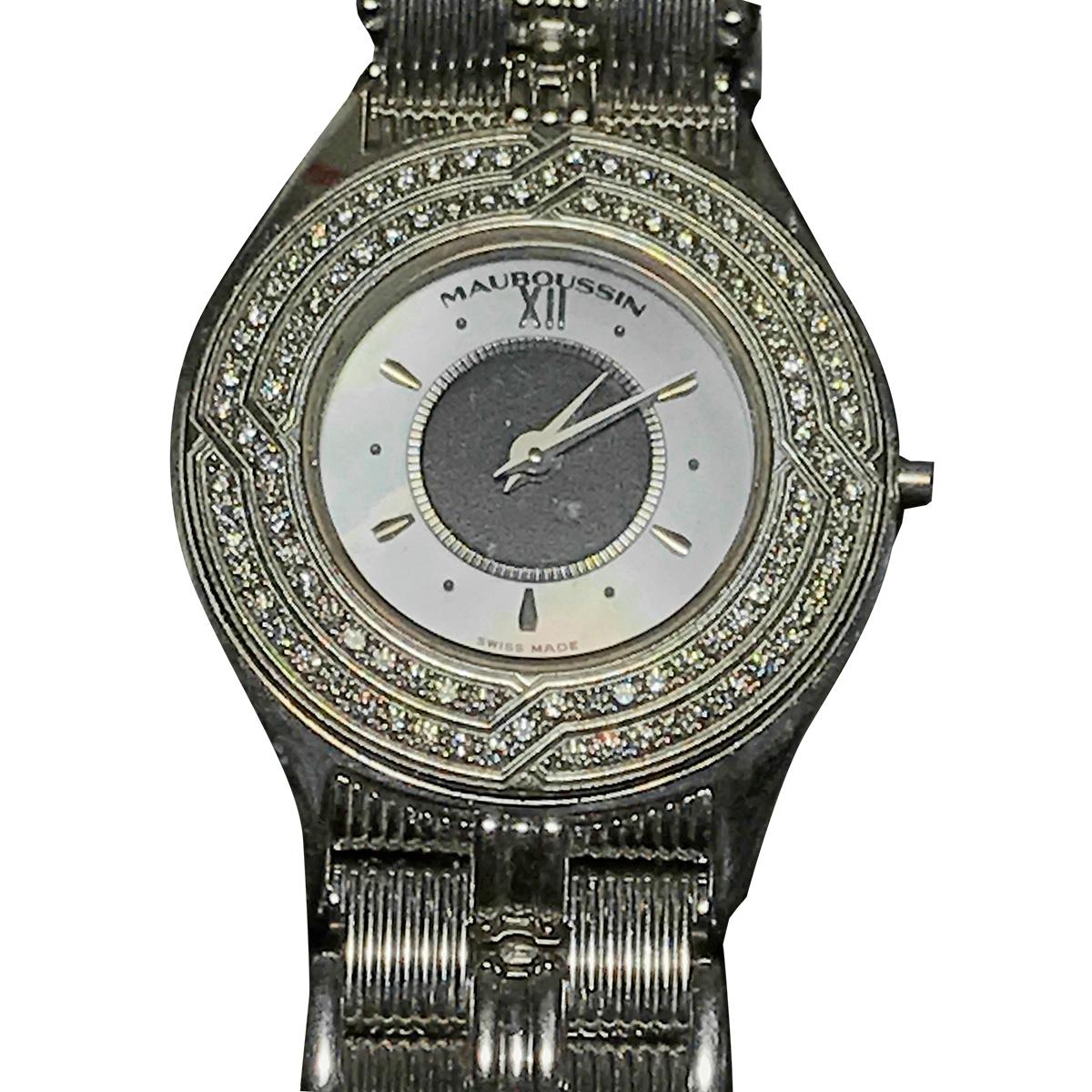 "Image of ""Mauboussin 186 W 18K White Gold and Diamond 25mm Womens Watch"""