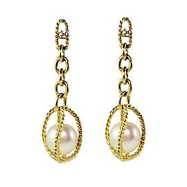 David Yurman 18K Yellow Gold Circle Pearl & 0.06ct Diamond Dangle Earrings