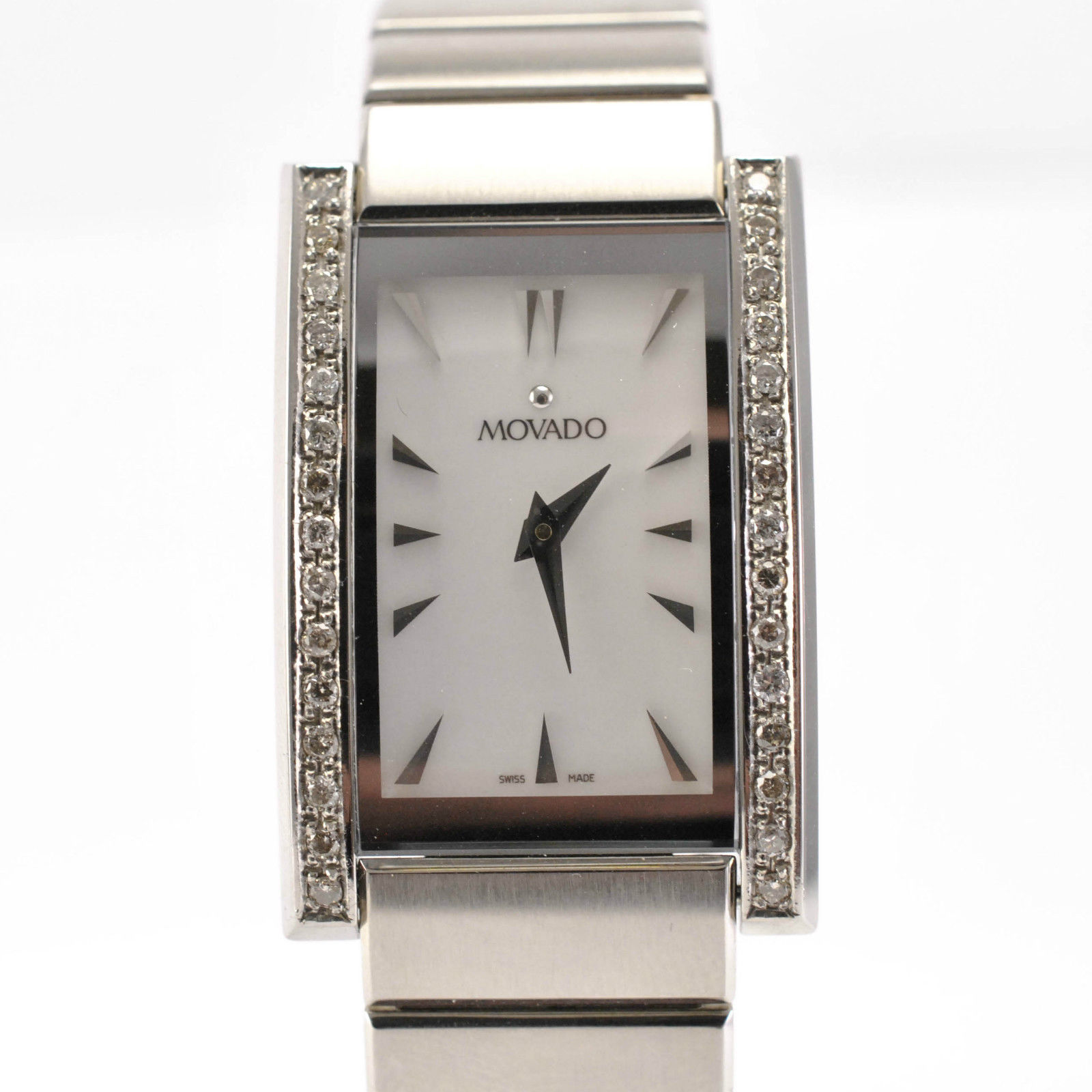"Image of ""Movado Model 84 A1 2432 Stainless Steel Bracelet Diamond Bezel Ladies"""