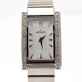 Movado Model 84 A1 2432 Stainless Steel Bracelet Diamond Bezel Ladies Watch