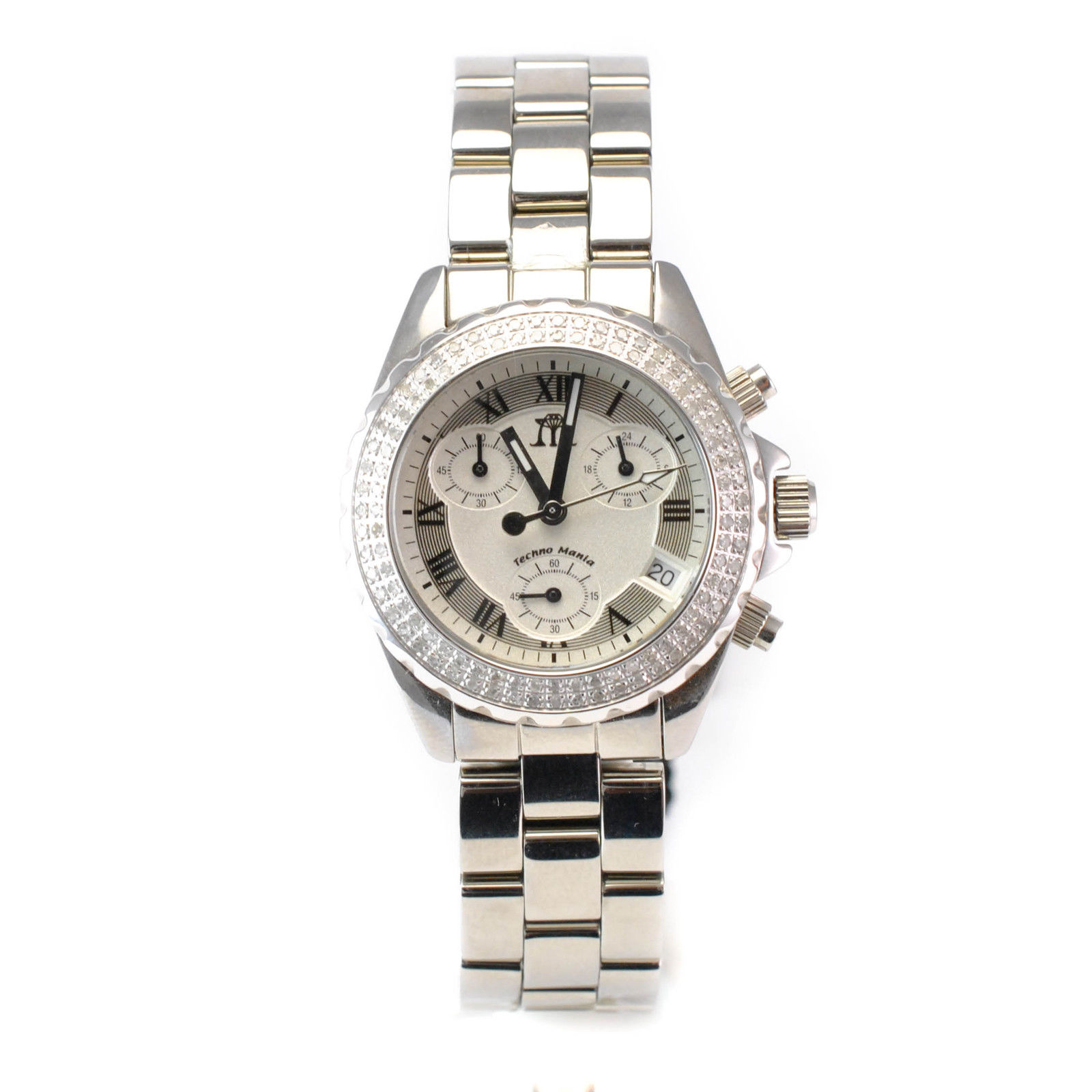 "Image of ""TechnoMania Tech 01026 Diamond Grey Dial Stainless Steel Women's Watch"""