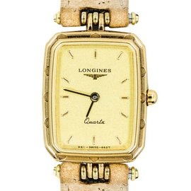 Longines Gold Tone Stainless Steel Leather Band Ladies Rectangular Quartz Watch