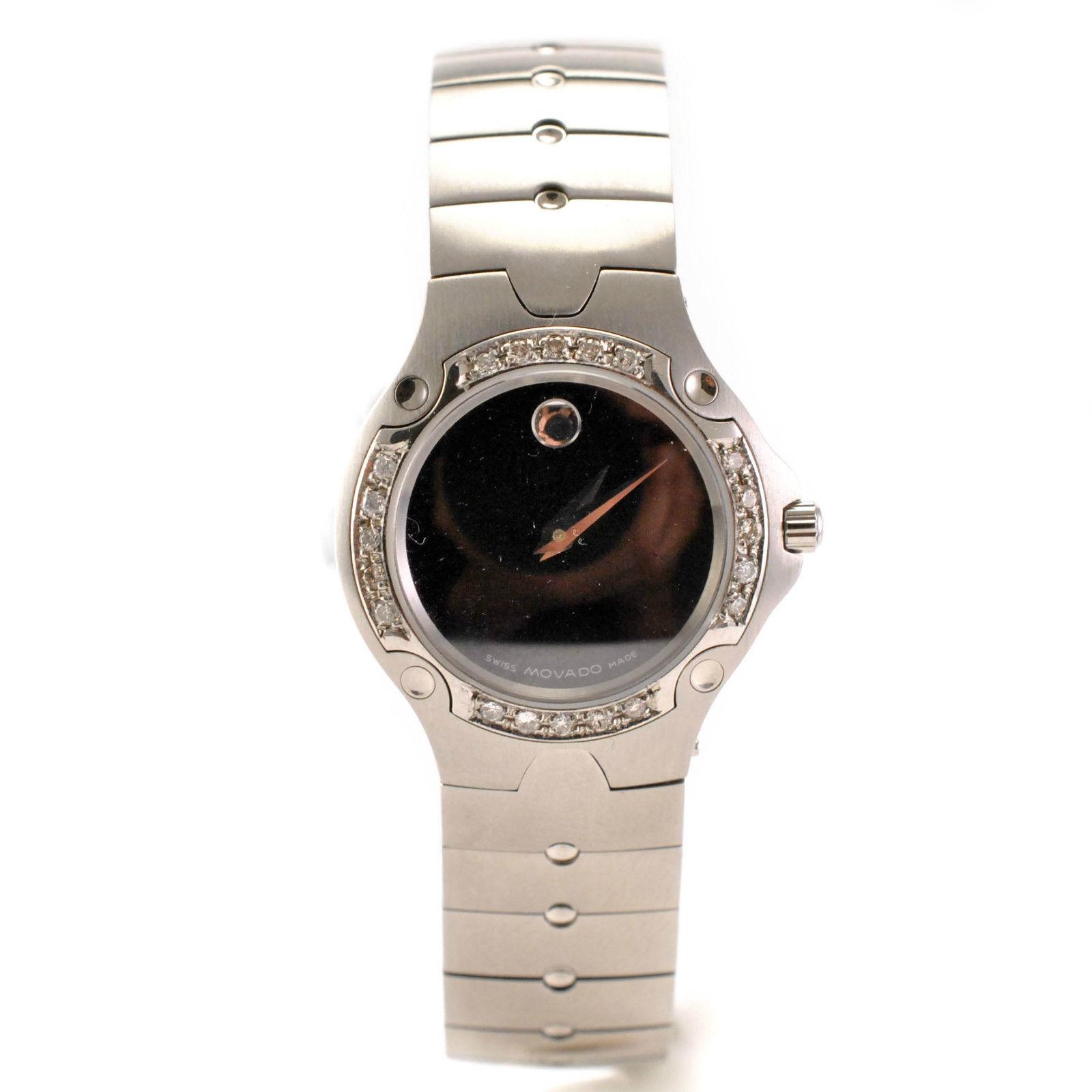 "Image of ""Movado model 84 A1 1831 Stainless Steel Bracelet and Diamond Bezel"""
