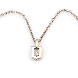 Cartier 18K White Gold & Diamond Logo Pendant Necklace