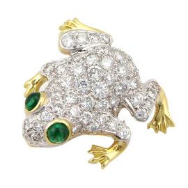 18K 2-Tone Gold Diamond & Emerald Frog Pendant
