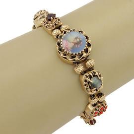 14K Yellow Gold Multi-Colored Gemstone Slid Charm Bracelet