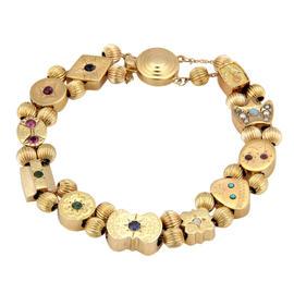 14K Yellow Gold Multi-Colored Gemstone Slide Charm Bracelet