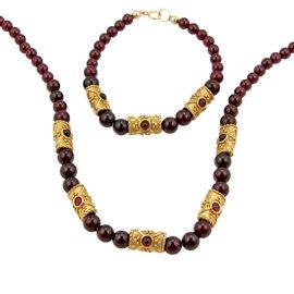 Estate 14K Yellow Gold Rhodolite Beaded Necklace Bracelet Set