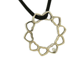 Chopard Happy Diamond Ladies Heart Circle Pendant w Black Cord