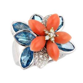18K White Gold Diamond Coral & Blue Topaz Movable Flower Ring