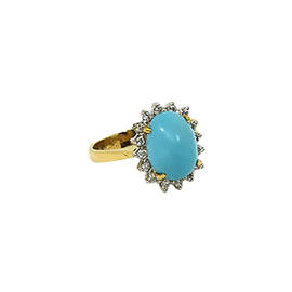 LeVain 18K Yellow Gold Diamonds & Turquoise Cocktail Ring