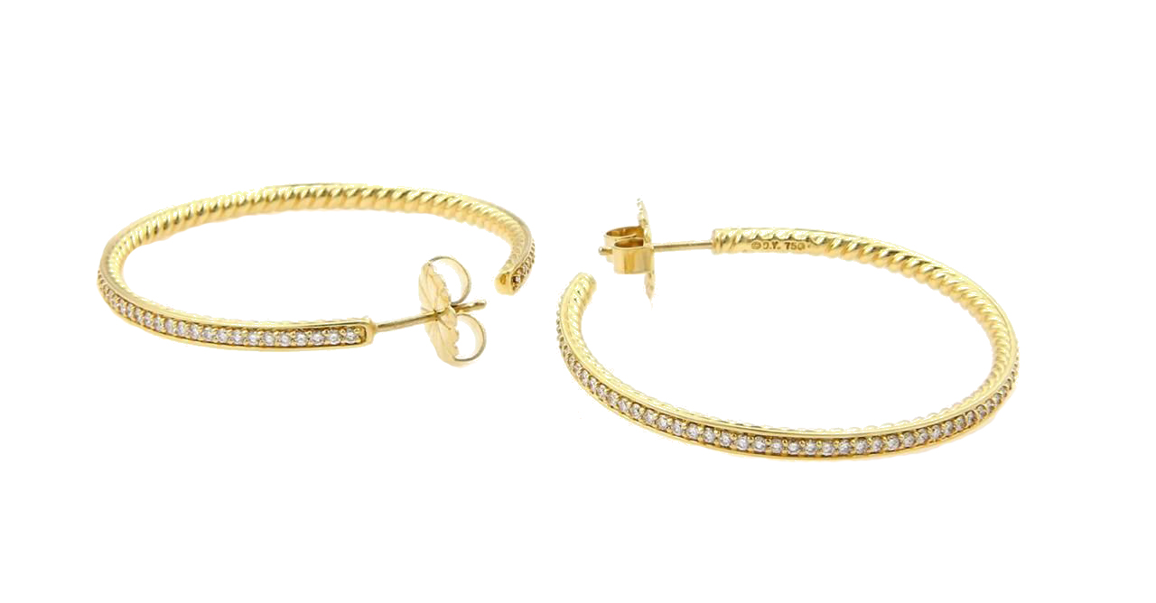 "Image of ""David Yurman 18K Yellow Gold Pave Diamond Large Hoop Earrings"""