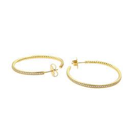 David Yurman 18K Yellow Gold Pave Diamond Large Hoop Earrings