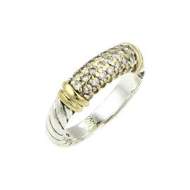 David Yurman Sterling Silver 18k Gold & Diamond Metro Ring