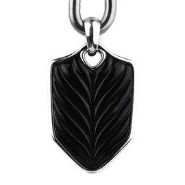 David Yurman 925 Sterling Silver Onyx Chevron Shield Pendant