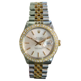 Rolex Oyster Perpetual Datejust 36mm Diamond Stainless Steel Mens Vintage Watch