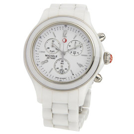 Michele Jetway Chronograph White Ceramic Sapphire Crystal Wrist Watch