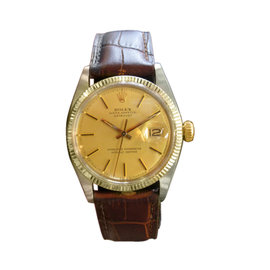Rolex Oyster Perpetual Datejust Yellow Gold Stainless Steel 36mm Mens Vintage Watch