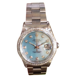 Rolex Oyster Perpetual Date Mother of Pearl Stainless Steel Diamond Watch