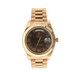 Rolex 218235 Day Date II President Rose Gold Chocolate Dial Watch