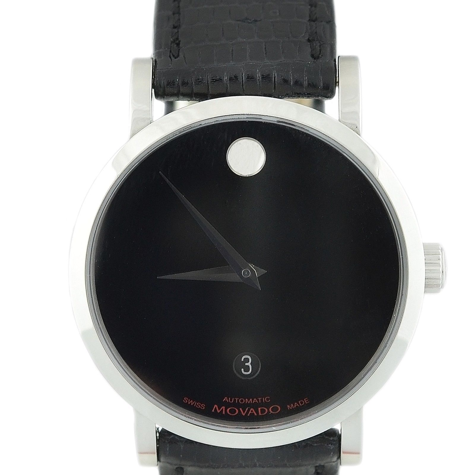 """Image of """"Movado 84P21889 Stainless Steel Date Black Dial Leather Band Automatic"""""""