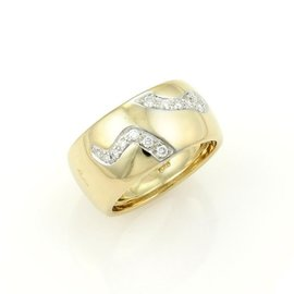 Pomellato 18K Yellow Gold & Diamond Arrow Design Wide Dome Band Ring