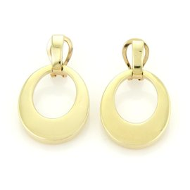 Tiffany & Co. 18k Yellow Gold Open Oval Loop Drop Dangle Earrings