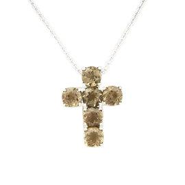 Pasquale Bruni 18K White Gold Smokey Quartz Cross Pendant Necklace