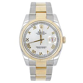 Rolex 116233 Datejust White Dial 18K Stainless Steel Saint Blanc Men's Watch