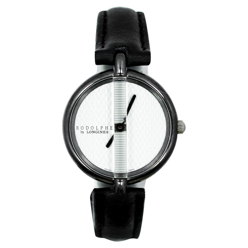 """Image of """"Longines Rodolphe White Dial Black Leather Strap Stainless Steel"""""""