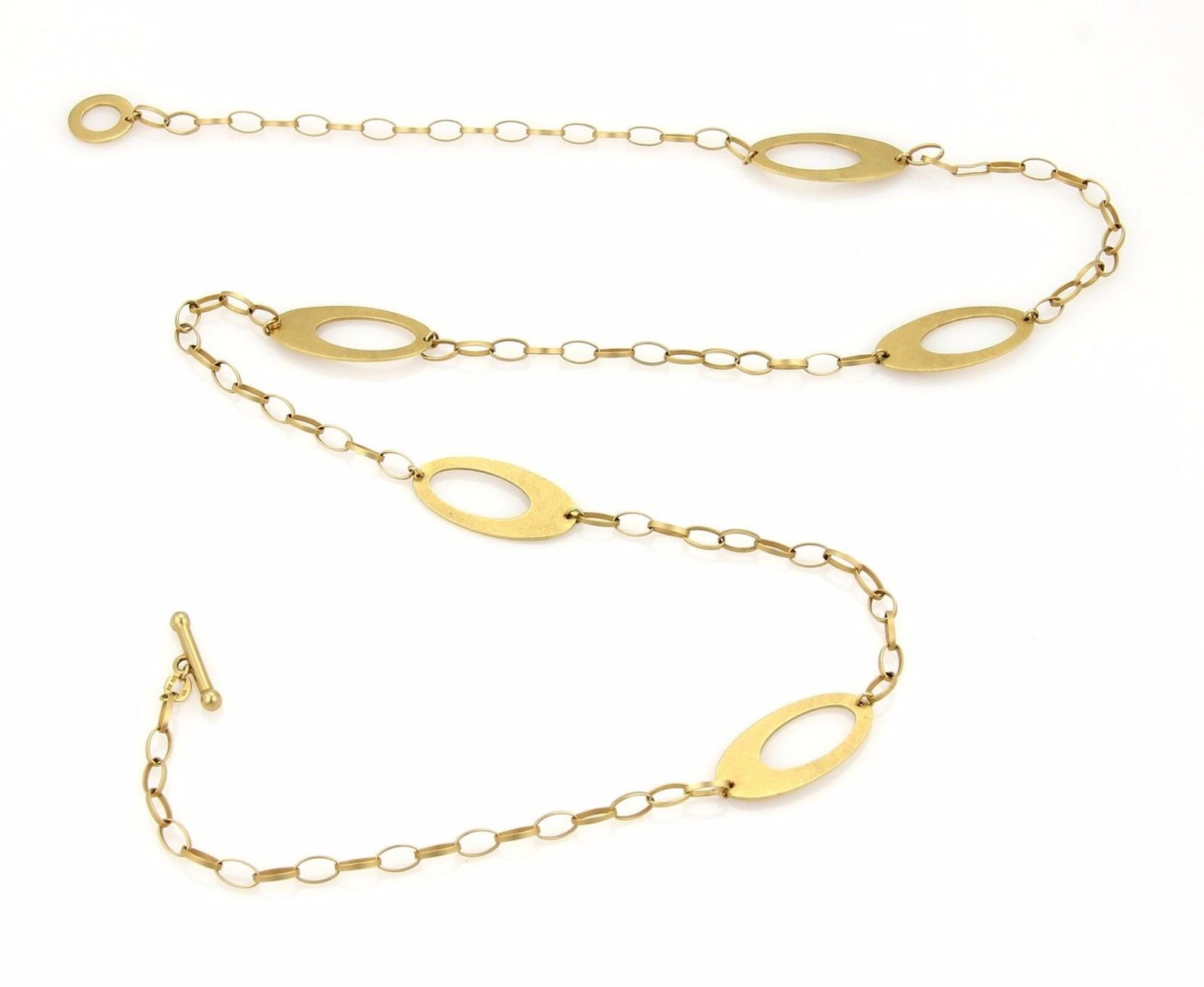 """Image of """"14K Gold Large Open Oval Charm & Chain Link & Toggle Necklace"""""""