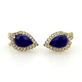 14K Yellow Gold Diamonds & Pear Shape Lapis Stud Earrings