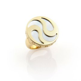 Bvlgari Mother Of Pearl Spinning Optical 18k Gold & Steel Ying Yang Ring